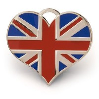 Union Jack Heart Cat or Dog Id Tag